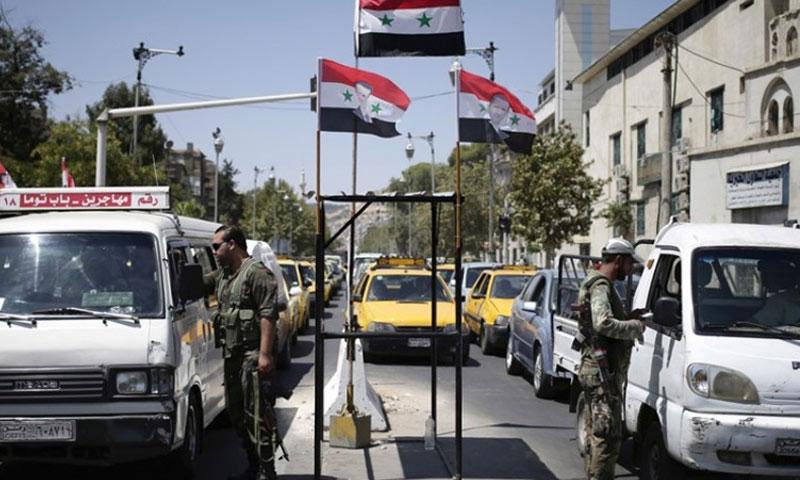 حاجز للنظام في دمشق (فيس بوك)