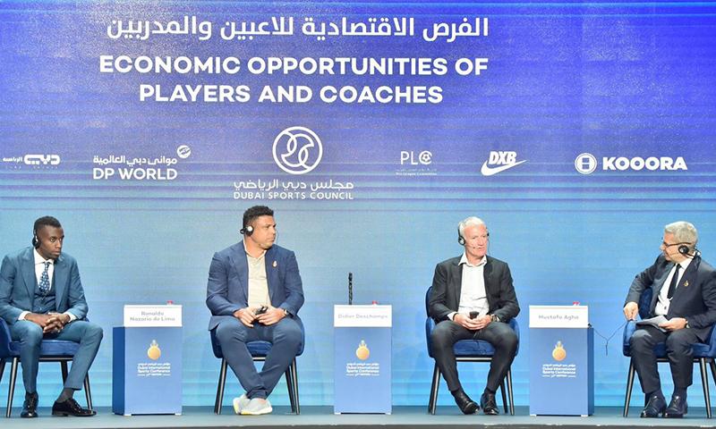 لاعبون ومدربون سابقون في مؤتمر دبي الرياضي- 2019 (Dubai Media)