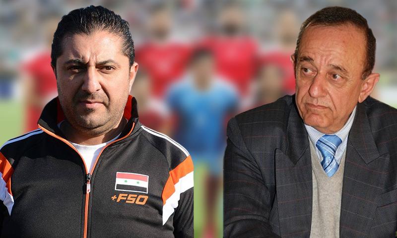 فاروق بوظو ورئيس الاتحاد الرياضي السوري لكرة القدم فادي الدباس (تعديل عنب بلدي)