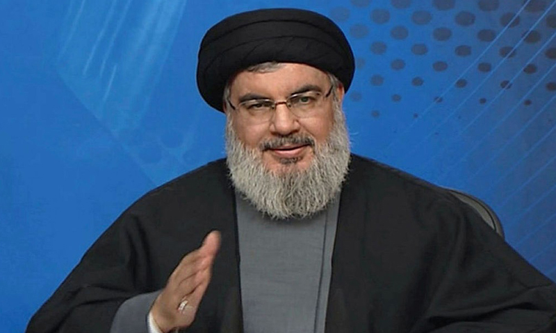 """الأمين العام لـ""""حزب الله"""" اللبناني، حسن نصر الله (AFP)"""