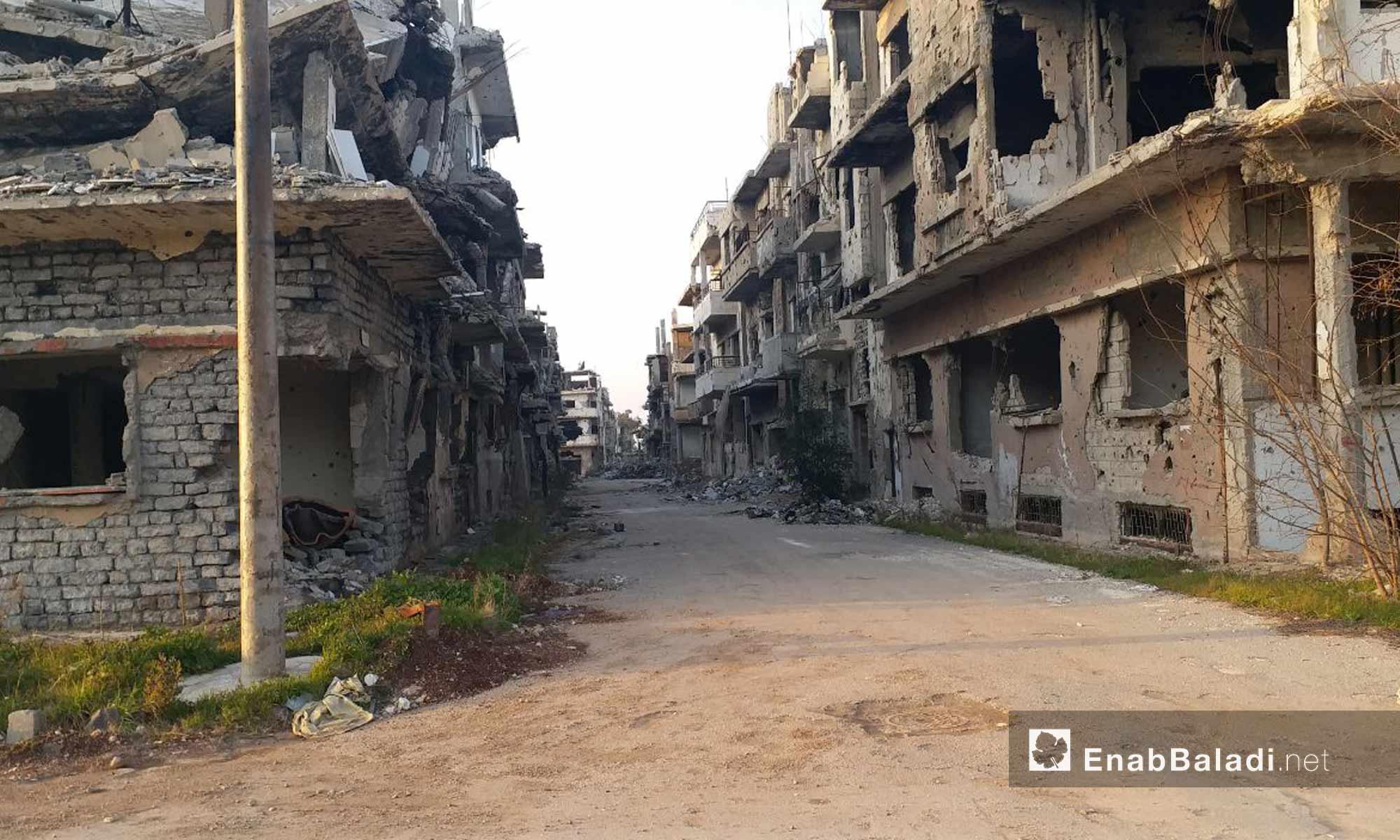 شوارع في حي القرابيص بمدينة حمص - 24 من كانون الثاني 2019 (عنب بلدي)