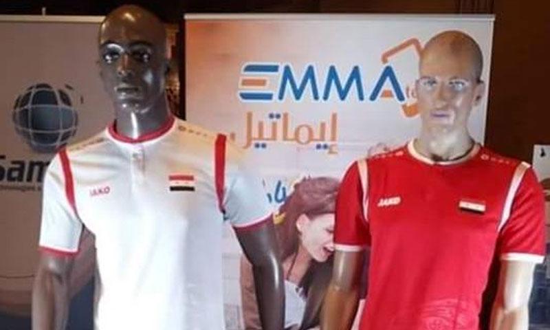عرض قميص المنتخب السوري في كأس أمم آسيا - 24 كانون الأول 2018 (مؤتمر صحفي)