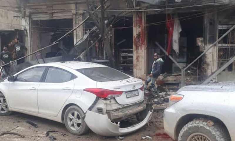 دمار في السوق الشعبي وسط مدينة منبج جراء تفجير استهدف المنطقة 16 كانون الثاني 2019 (هيرابوليس)