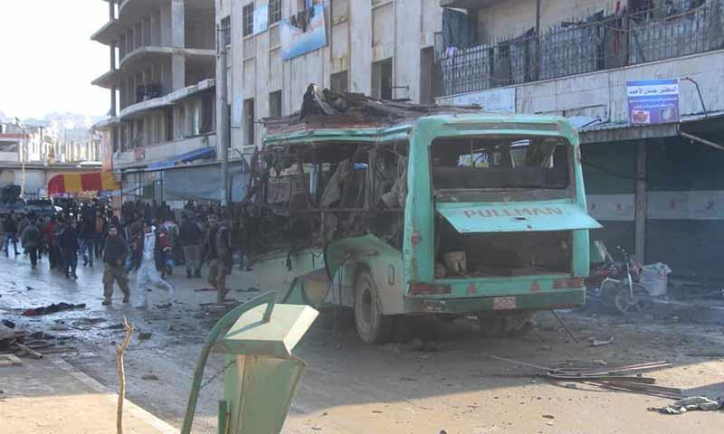 تفجير في حافلة ركاب وسط مدينة عفرين 20 كانون الثاني 2019 (الدفاع المدني السوري)