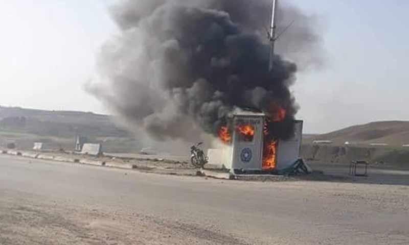 هجوم على نقطة عسكرية للقوى الأمنية في المنصورة بريف الطبقة 22 كانون الثاني 2019 (المنصورة فيس بوك)