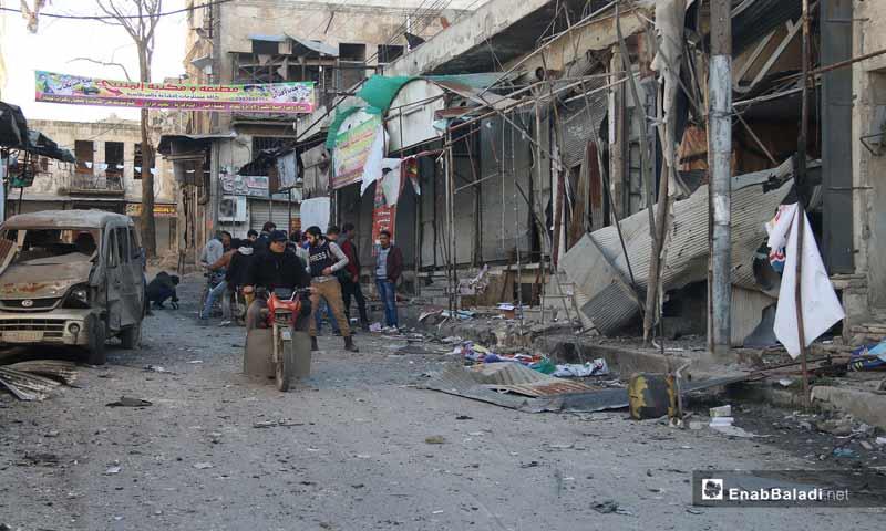 أثار القصف الصاروخي على أسواق وأحياء معرة النعمان جنوب إدلب 30 كانون الثاني 2019 (عنب بلدي)