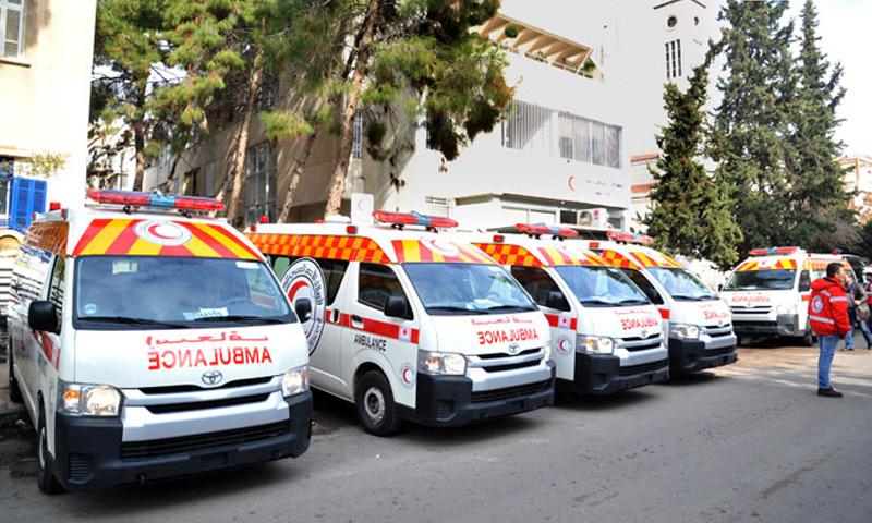 سيارات إسعاف مقدمة من اليابان للهلال الأحمر السوري- 10 كانون الثاني 2019 (سانا)