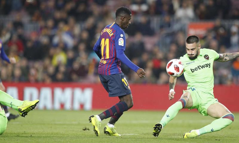 نادي برشلونة يتفوق على ليفانتي بثلاثة أهداف دون رد في كأس ملك إسبانيا- 17 من كانون الثاني (برشلونة)