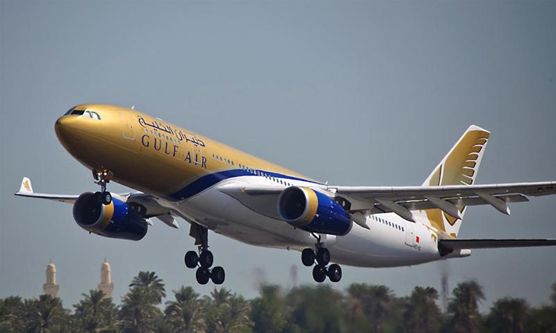 """طائرة تابعة لشركة """"طيران الخليح"""" البحرينية (موقع الشركة)"""