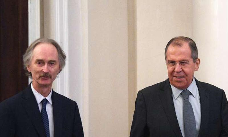 وزير الخارجية الروسي سيرغي لافروف والمبعوث الأممي غير بيدرسون- 21 من كانون الثاني 2019 (سبوتنيك)