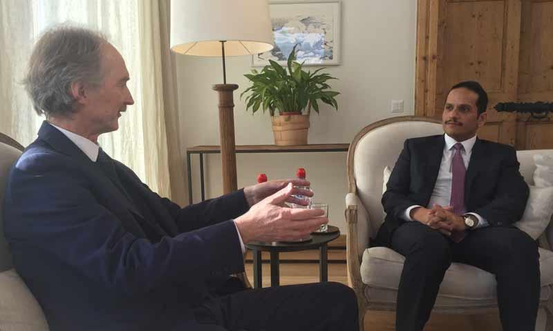 المبعوث الأممي إلى سوريا غير بيدرسون مع وزير الخارجية القطري- 24 كانون الثاني 2019 (حساب البعثة الأممية إلى سوريا في تويتر)