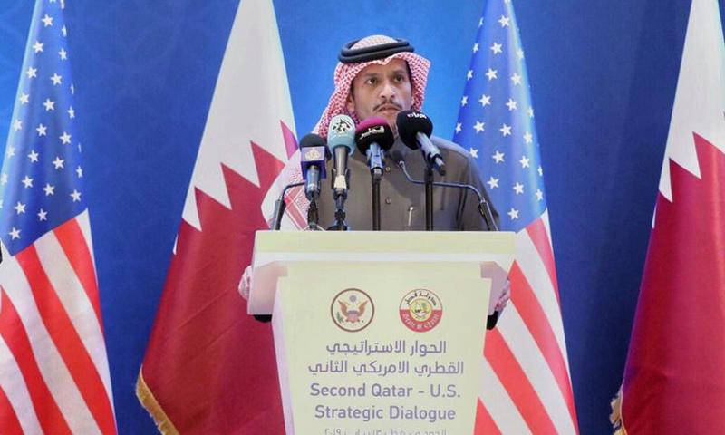 وزير الخارجية القطري، محمد عبد الرحمن، خلال مؤتمر صحفي مع وزير خارجية أمريكا، مايك بومبيو (الخارجية القطرية)