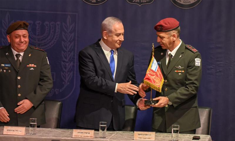 نتنياهو في مراسم تنصيب رئيس الأركان العامة الإسرائيلي - 15 من كانون الثاني 2018 (كوبي ريختر TPS)