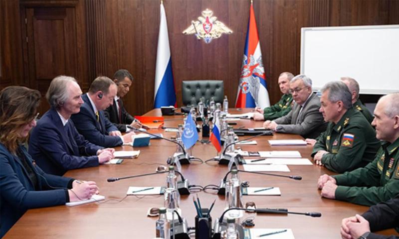 اجتماع المبعوث الأممي غير بيدرسون مع وزير الدفاع الروسي سيرغي شويغو- 21 كانون الثاني 2019 (UN)