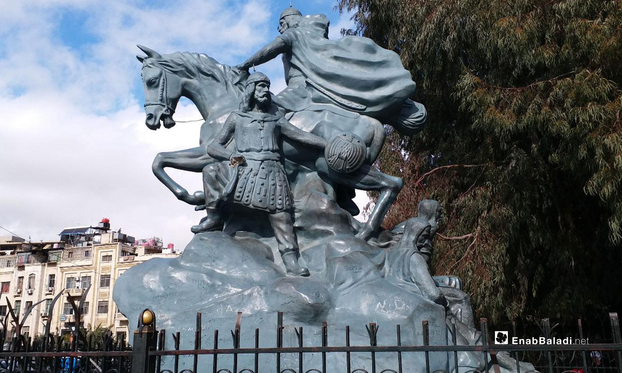 تمثال صلاح الدين الأيوبي في دمشق - 14 من كانون الثاني 2019 (عنب بلدي)