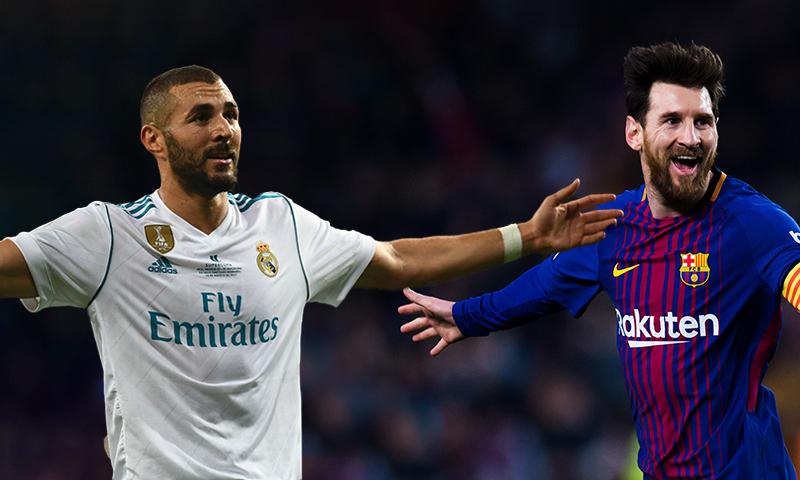 لاعب نادي ريال مدريد كريم بنزيما، ولاعب نادي برشلونة ليونيل ميسي (تعديل عنب بلدي)