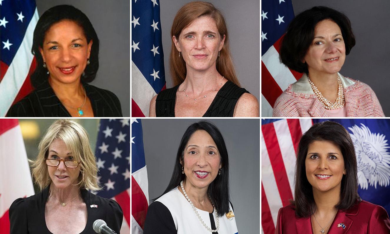 نساء مثلن أمريكا لدى الأمم المتحدة (تعديل عنب بلدي)