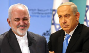 رئيس الوزراء الإسرائيلي بنيامين نتنياهو ووزير الخارجية الإيراني محمد جواد ظريف - (تعديل عنب بلدي)
