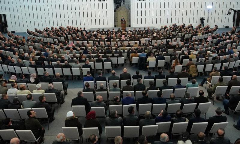 رئيس النظام السوري بشار الأسد في كلمة أمام رؤساء المجالس المحلية في دمشق - 17 شباط 2019 (رئاسة الجمهورية)