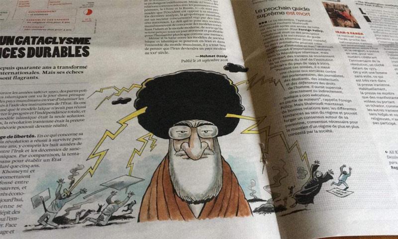 رسم كاريكاتير في صحيفة فرنسية أزاله الأمن العام اللبناني (حساب الصحفي عمر حرقوص في تويتر)