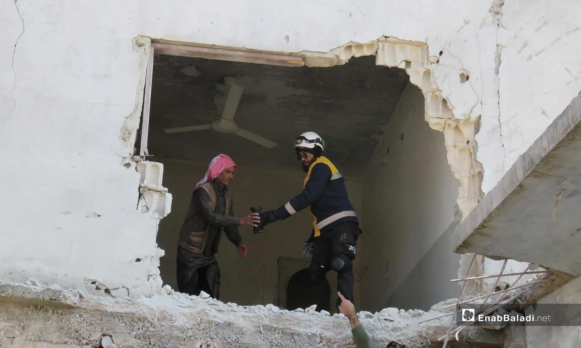 آثار الدمار بعد القصف على قلعة المضيق في ريف حماة - 18 من شباط 2019 (عنب بلدي)