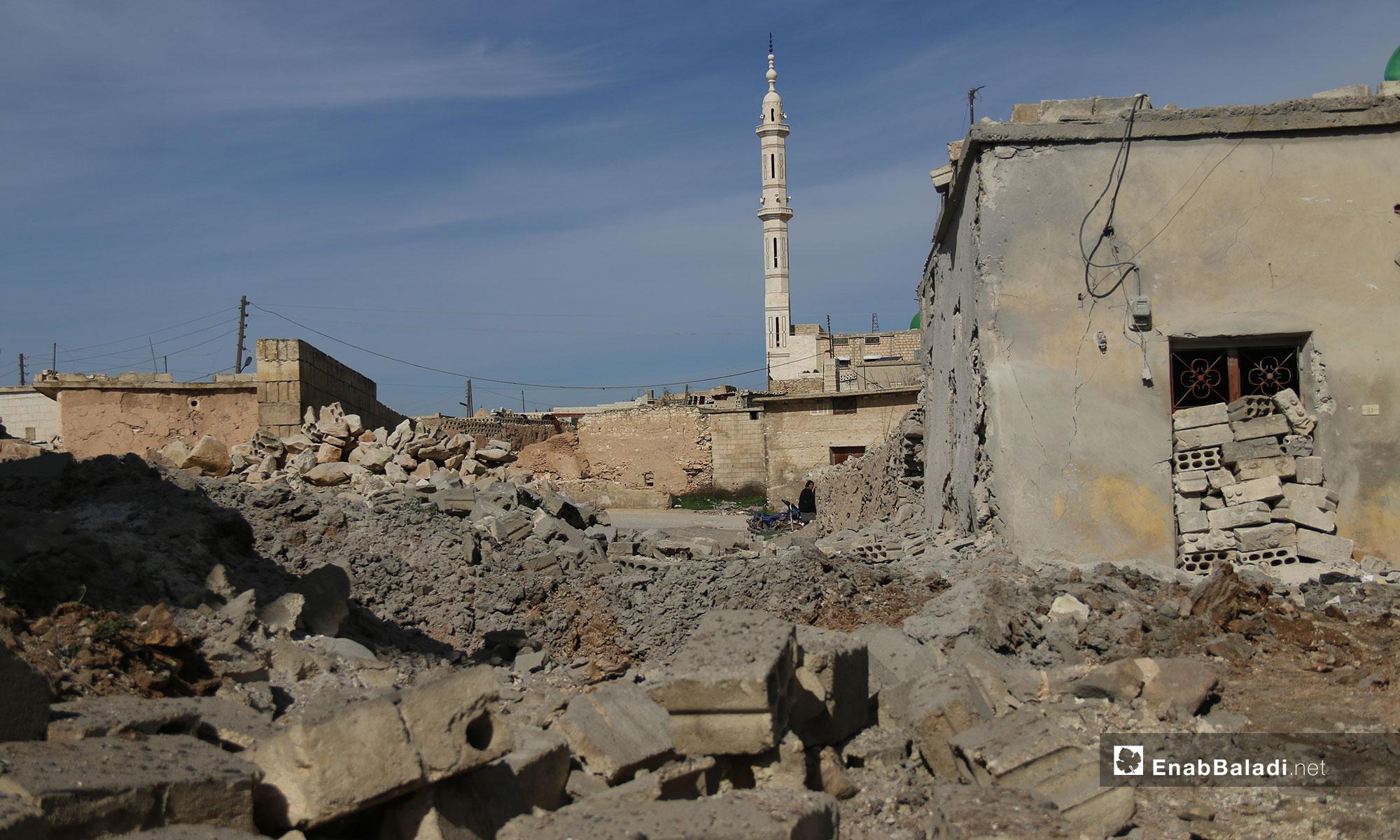 آثار الدمار الذي خلفه القصف في بلدة التح بريف إدلب - 4 من شباط 2019 (عنب بلدي)