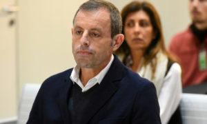 الرئيس السابق لنادي برشلونة الإسباني ساندرو روسيل خلال جلسة محاكمته بتهم تبييض الأموال-25 من شباط 2019 (AFP).