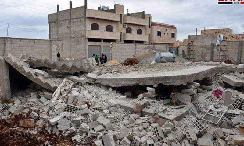 انهيار منزل طابقي بريف حماة الجنوبي 27 شباط 2019 (سانا)