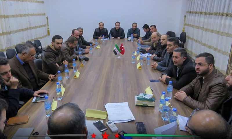 توقيع اتفاقية بين المجلس المجلي لمدينة الباب مع شركة تركية ومستشارين أتراك لتوصيل الكهرباء الى الباب شمالي حلب 28 شباط 2019 (المجلس المحلي لمدينة الباب)