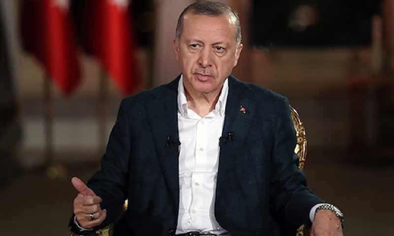 الرئيس التركي رجب طيب أردوغان خلال لقاء تلفزيوني على قنوات TRT 2 شباط 2019 (TRT)