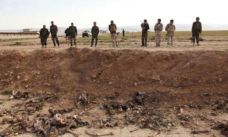 مقبرة جماعية للإيزيديين في سنجار (رويترز)