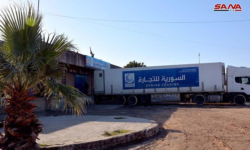 سيارة شاحنة تابعة للمؤسسة السورية للتجارة في سوق الهال بدمشق (سانا)