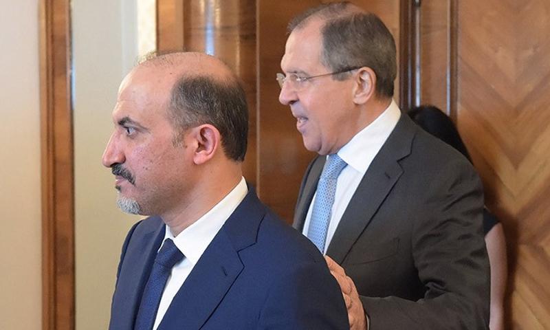 أحمد الجربا مع وزير الخارجية الروسي، سيرغي لافروف