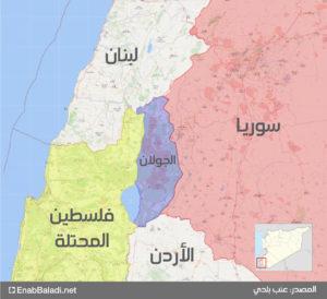 خريطة توضح موقع الجولان السوري المحتل (تعديل عنب بلدي)