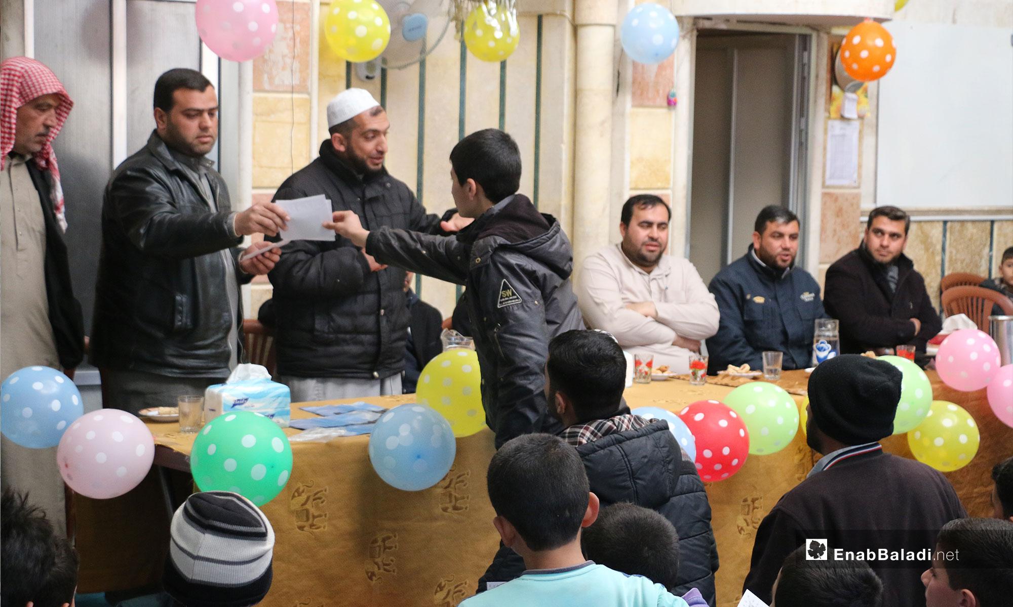 حفل تكريم لطلاب حفظة القرآن الكريم في بلدة دابق بريف حلب - 7 من آذار 2019 (عنب بلدي)