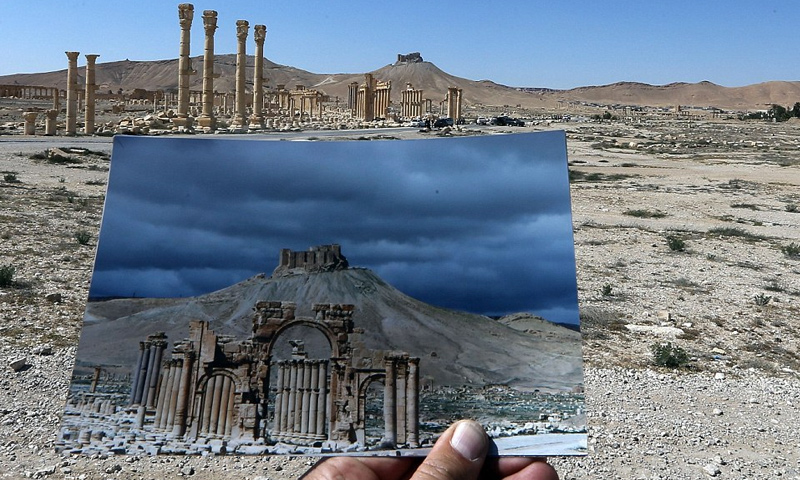 صورة تظهر الدمار في مدينة تدمر الأثرية - 4 آذار 2016 (AFP)