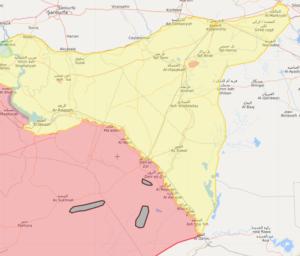 """خريطة تظهر جيوبًا لتنظيم """"الدولة الإسلامية"""" في مناطق غرب شرق الفرات في سوريا - 24 آذار 2019 (Livemap)"""
