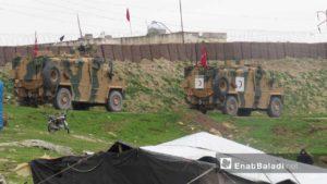 وصول الدورية العسكرية التركية السابعة إلى منطقة شير المغار بريف حماة الغربي 25 آذار 2019 (عنب بلدي)