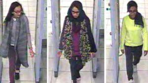كاديزا سلطان (يسار) شميما بيجوم (وسط) أميرة عباسي (يمين) - 23 شباط 2015 (كاميرا مطار غيدويك)