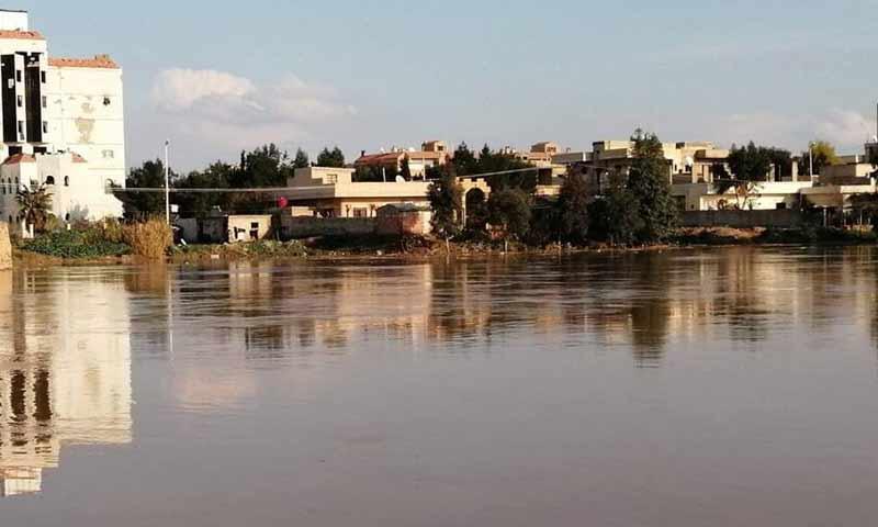 فيضان نهر الخابور في مدينة الحسكة بسبب الهطولات المطرية 4 آذار 2019 (دمشق الآن)