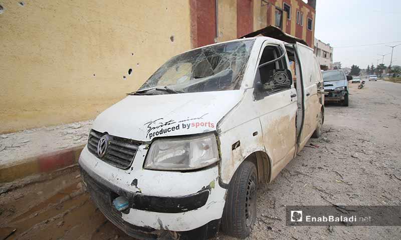 أثار القصف الجوي على مدينة سراقب شرقي إدلب 10 آذار 2019 (عنب بلدي)