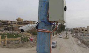 كاميرا مراقبة أمنية في شوراع مدينة الرقة 10 آذار 2019 (المركز الاعلامي لقسد)