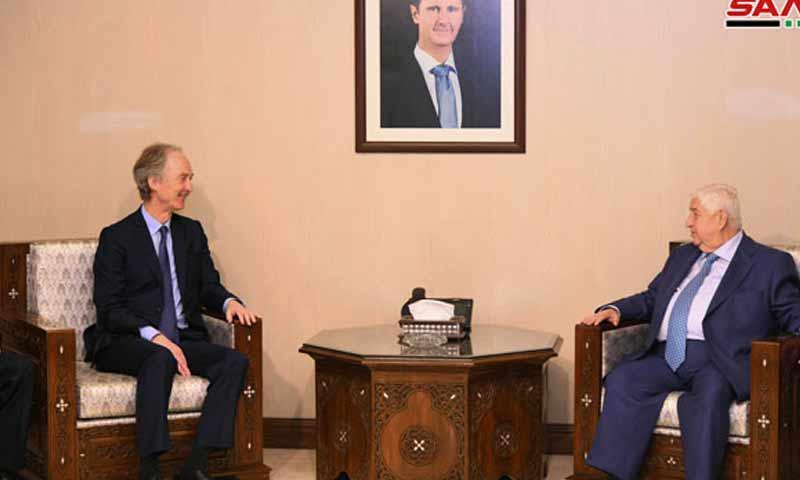 المبعوث الاممي إلى سوريا غير بيدرسون خلال لقاءه وزير الخارجية السوري وليد المعلم في العاصمة دمشق 17 آذار 2019 (سانا)