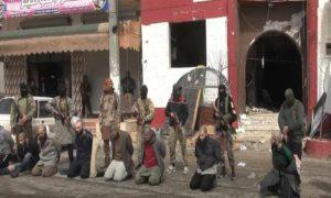تنفيذ حكم الاعدام بعناصر متهمين بالانتماء الى تنظيم الدولة أمام معطم فيوجن وسط مدينة إدلب 2 آذار 2019 (إباء)