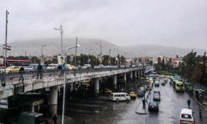 منطقة جسر الرئيس وسط العاصمة دمشق أثناء تساقط الأمطار 16 آذار 2019 (عدسة شاب دمشقي)