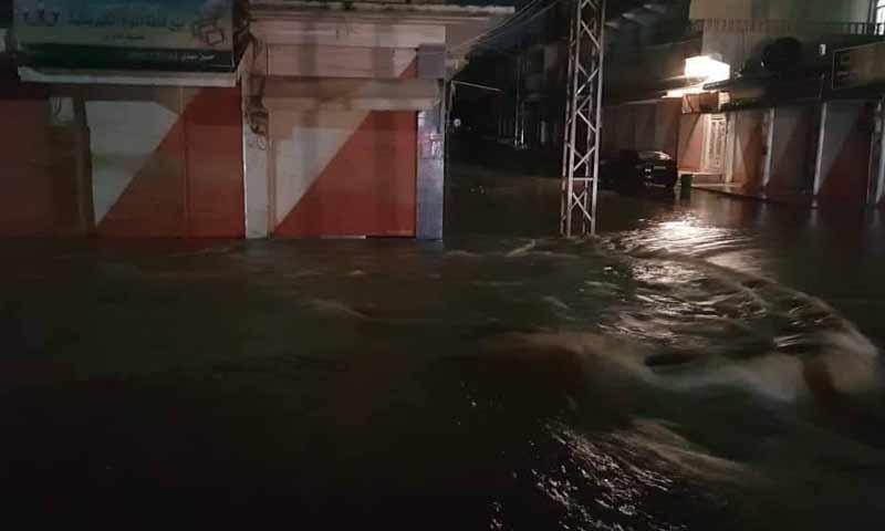فيضانات تجتاح مدينة القحطانية بريف القامشلي نتيجة هطول الأمطار الغزيرة 25 آذار 2019 (فرات بوست)