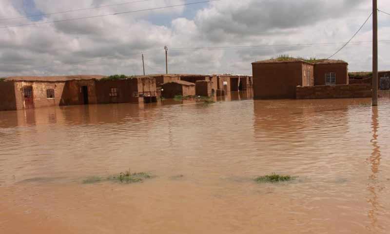فيضانات تغمر المنازل في قرى تل حميس بريف القامشلي 26 آذار 2019 (وكالة هاوار)
