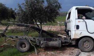 سيارة تقل مدنيين تعرضت لانفجار لغم أرضي في بدلة تل جبين بريف حلب الشمالي 27 آذار 2019 (الجميلية الآن)
