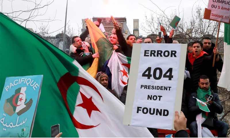 مظاهرة طلابية في الجزائر ضد ترشح بوتفليقة لولاية رئاسية خامسة- 3 آذار 2019 (AFP)