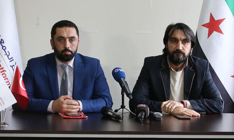 الدكتور مهدي داوود وباسل هيلم في مؤتمر منبر الجمعيات السورية - 6 آذار 2019 (عنب بلدي)